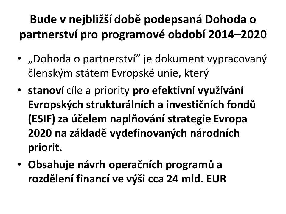 Bude v nejbližší době podepsaná Dohoda o partnerství pro programové období 2014–2020