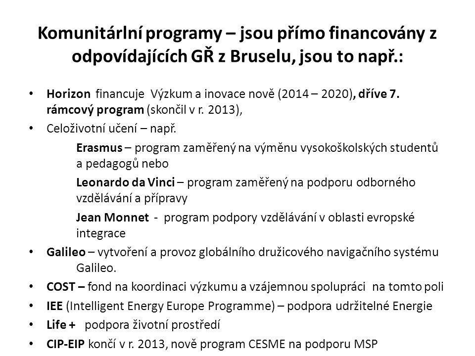 Komunitárlní programy – jsou přímo financovány z odpovídajících GŘ z Bruselu, jsou to např.: