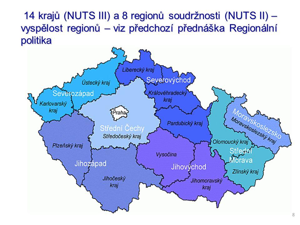 14 krajů (NUTS III) a 8 regionů soudržnosti (NUTS II) – vyspělost regionů – viz předchozí přednáška Regionální politika