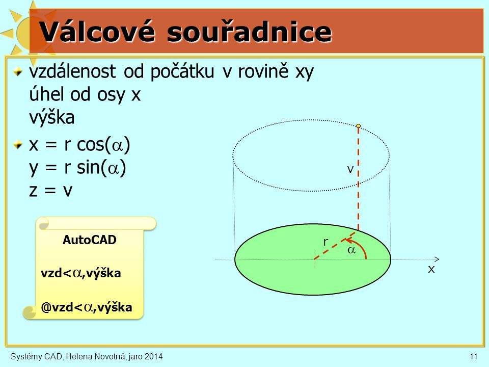 Válcové souřadnice vzdálenost od počátku v rovině xy úhel od osy x výška. x = r cos(a) y = r sin(a) z = v.