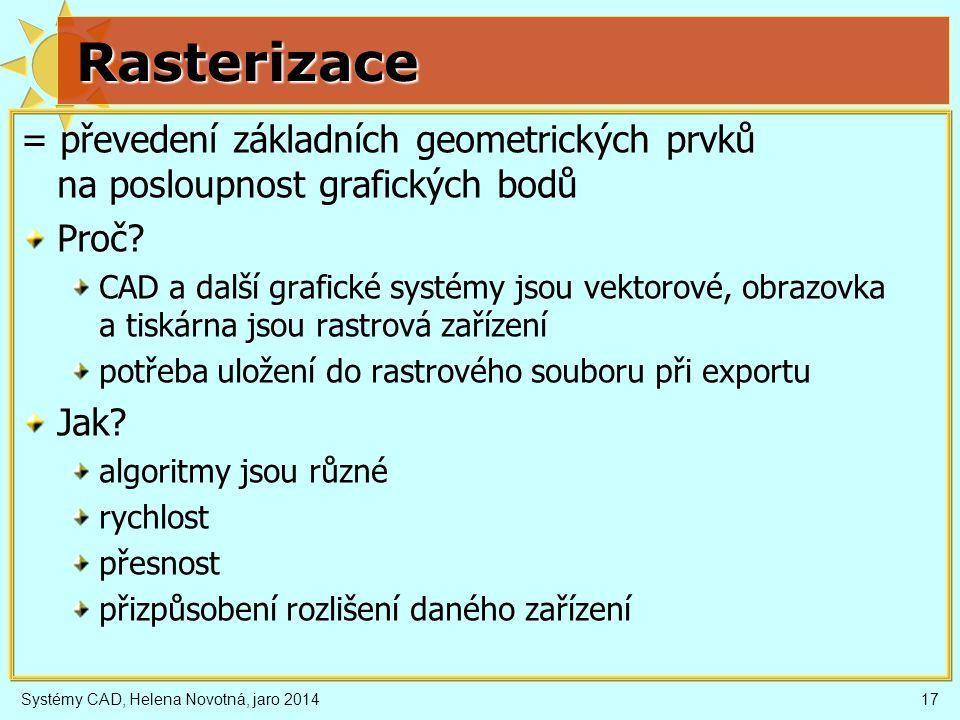Rasterizace = převedení základních geometrických prvků na posloupnost grafických bodů. Proč