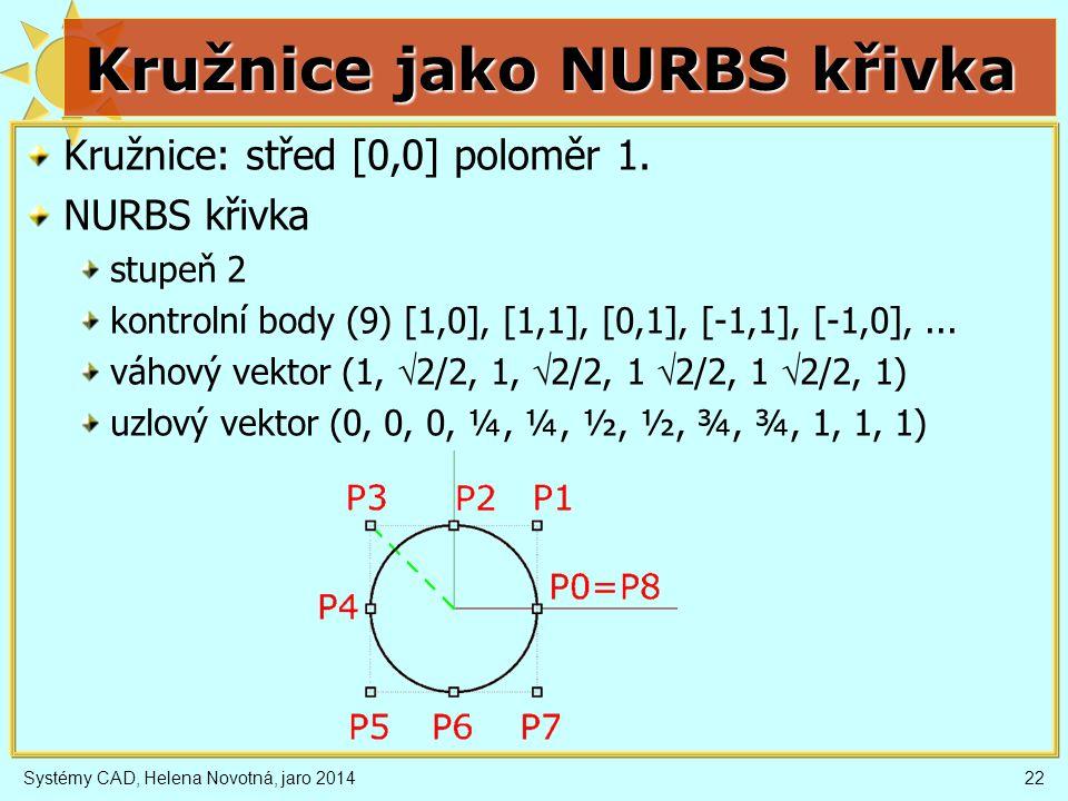 Kružnice jako NURBS křivka