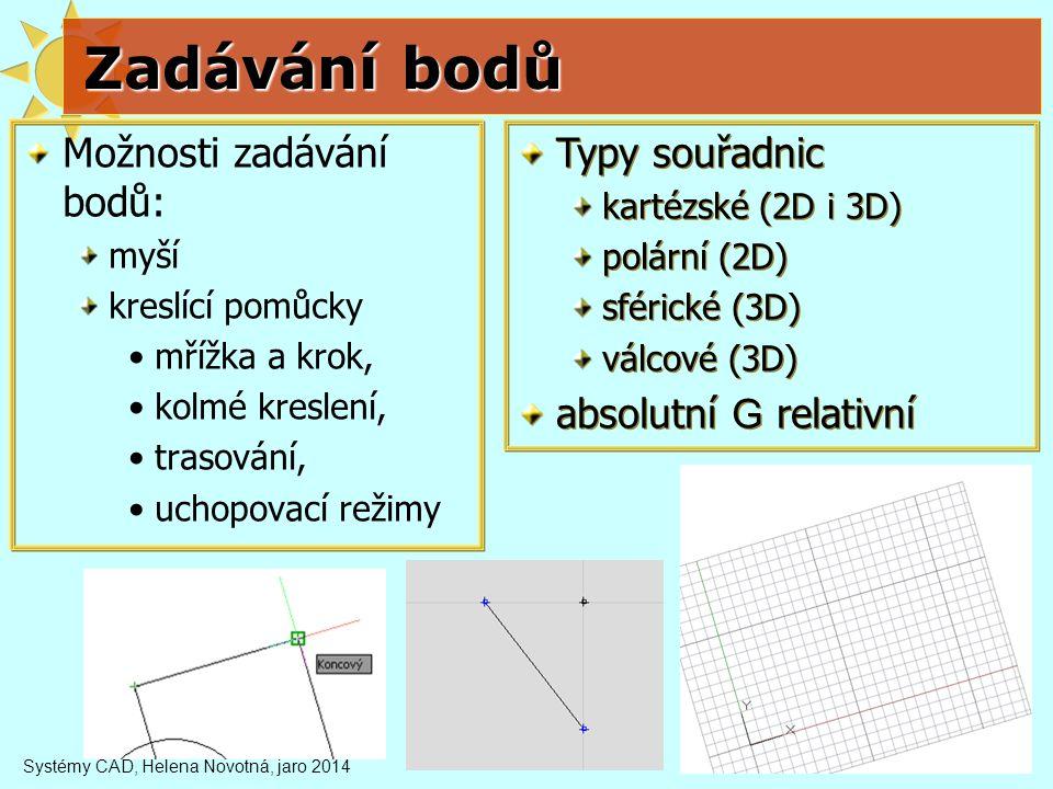 Zadávání bodů Možnosti zadávání bodů: Typy souřadnic