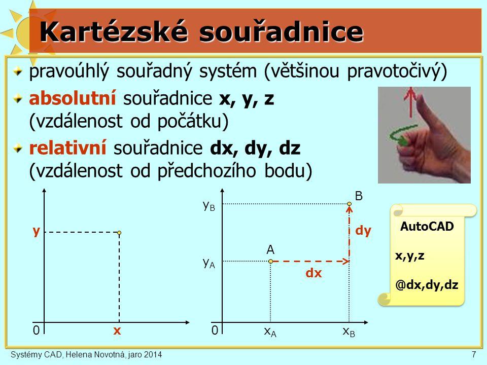 Kartézské souřadnice pravoúhlý souřadný systém (většinou pravotočivý)