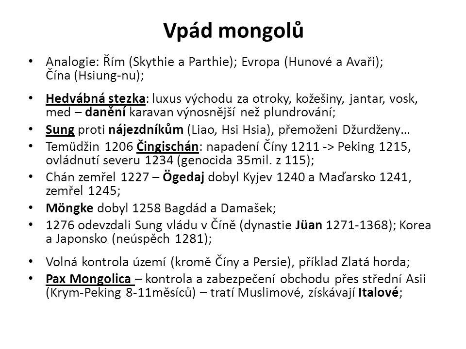 Vpád mongolů Analogie: Řím (Skythie a Parthie); Evropa (Hunové a Avaři); Čína (Hsiung-nu);