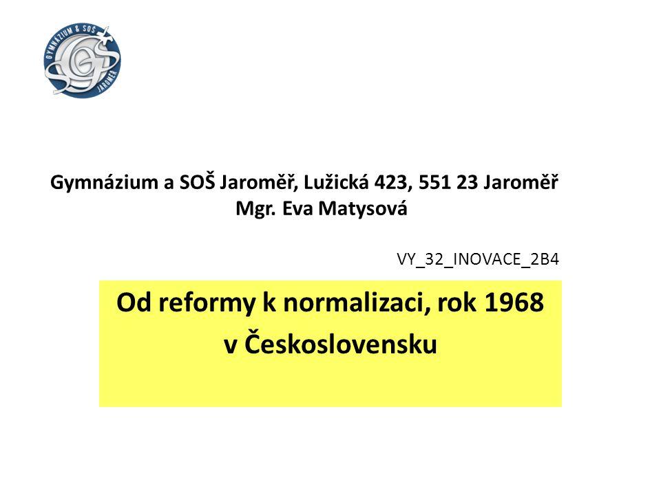 Od reformy k normalizaci, rok 1968 v Československu