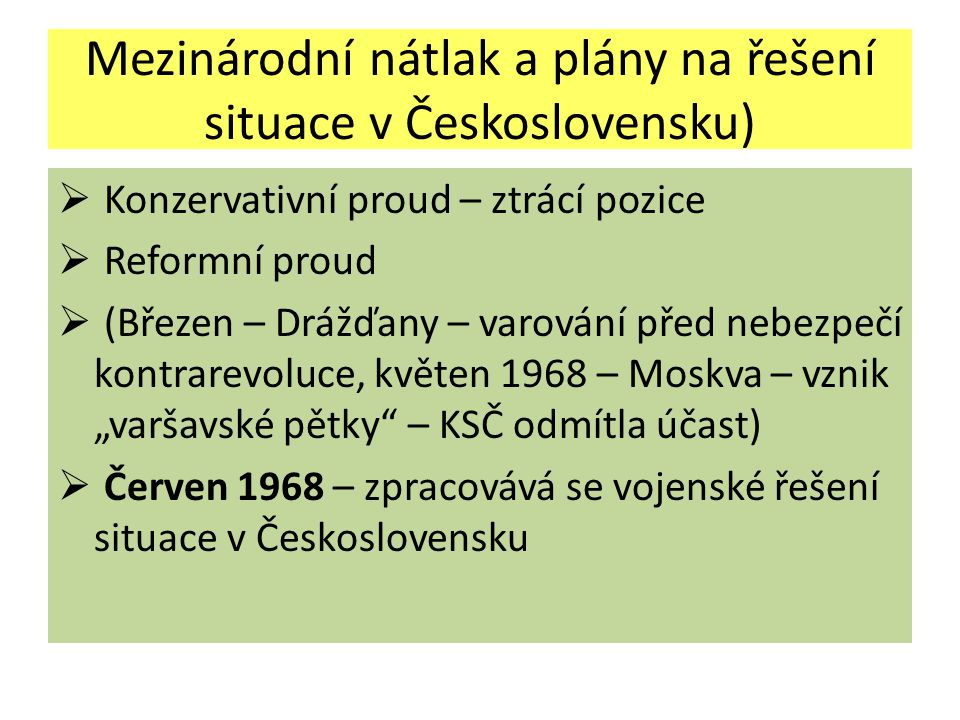 Mezinárodní nátlak a plány na řešení situace v Československu)