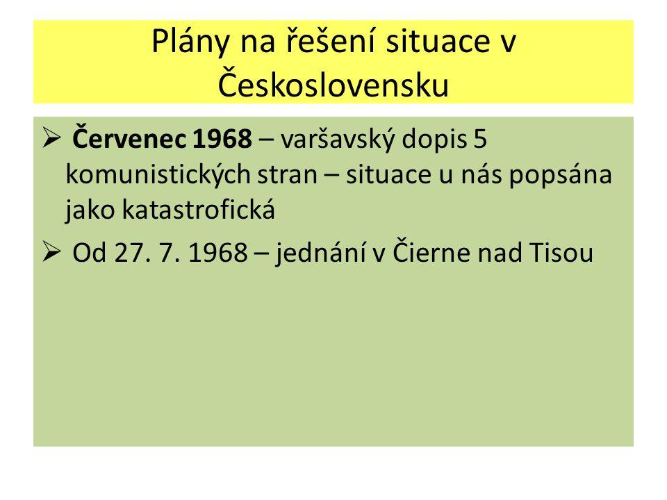 Plány na řešení situace v Československu