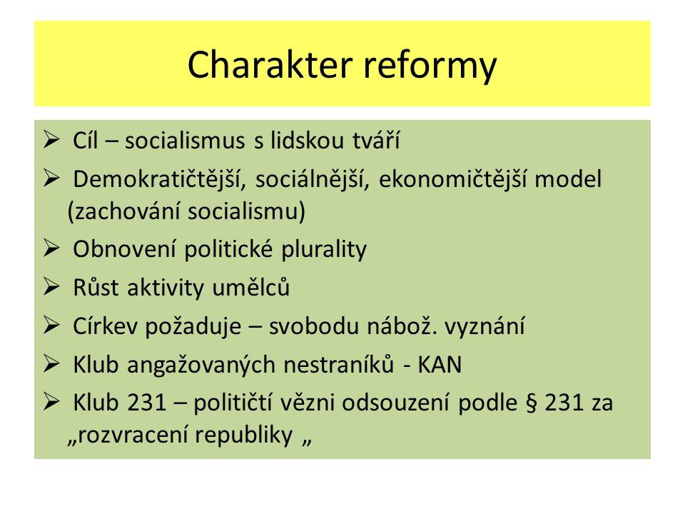 Charakter reformy Cíl – socialismus s lidskou tváří