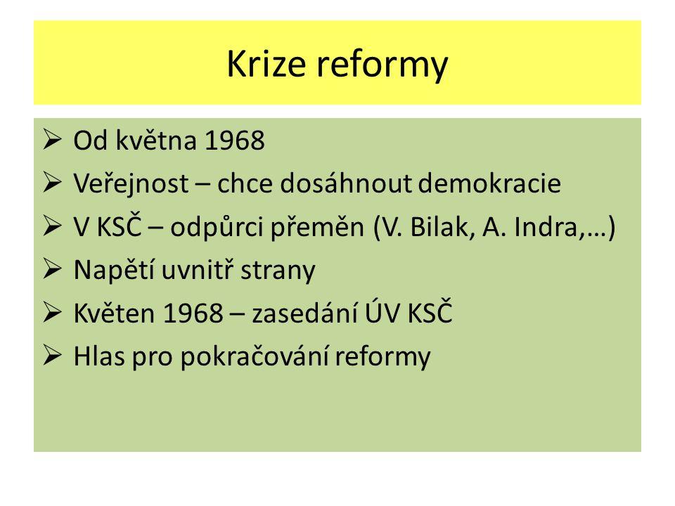 Krize reformy Od května 1968 Veřejnost – chce dosáhnout demokracie