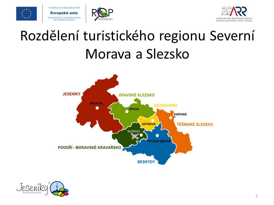Rozdělení turistického regionu Severní Morava a Slezsko