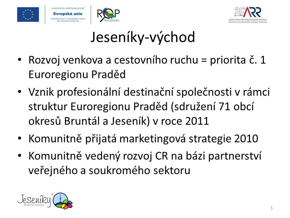 Jeseníky-východ Rozvoj venkova a cestovního ruchu = priorita č. 1 Euroregionu Praděd.