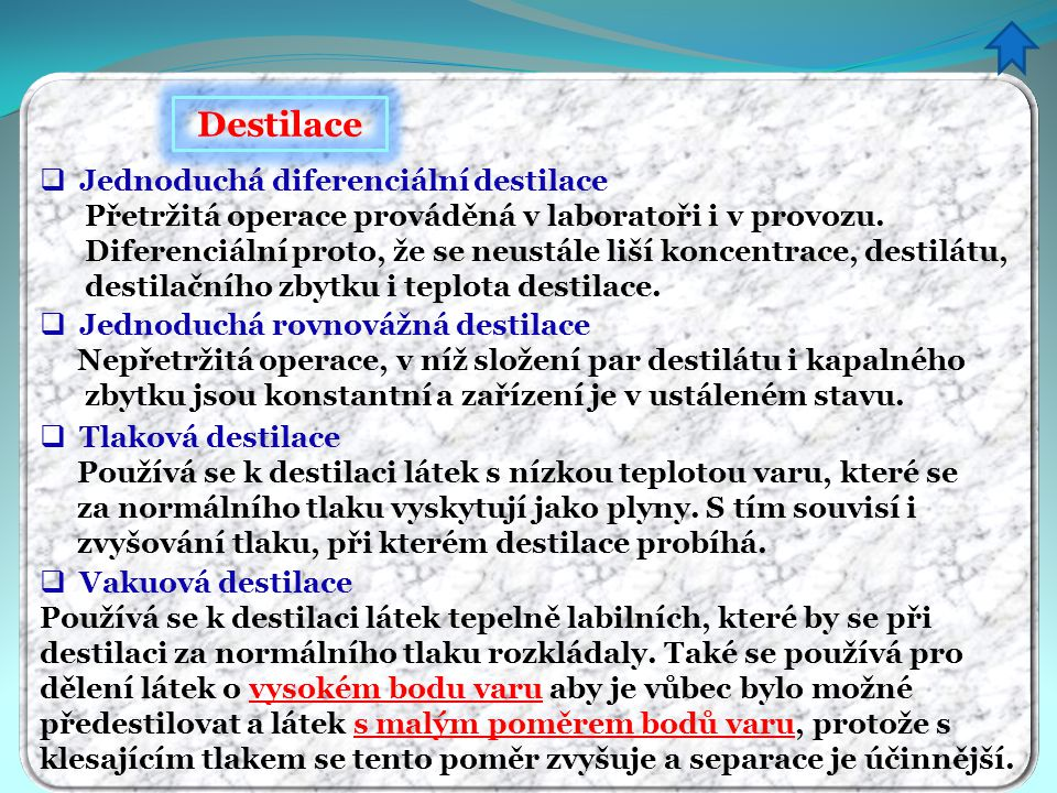 Destilace Jednoduchá diferenciální destilace