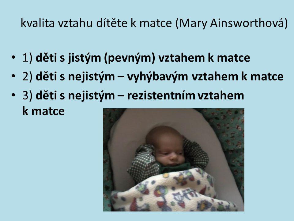 kvalita vztahu dítěte k matce (Mary Ainsworthová)
