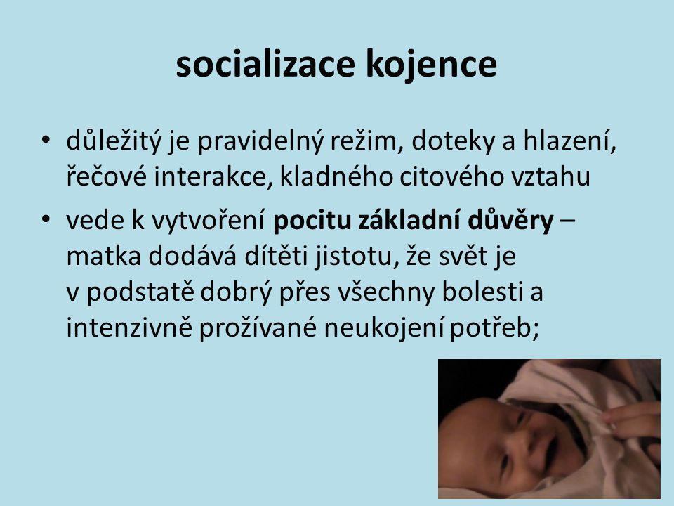 socializace kojence důležitý je pravidelný režim, doteky a hlazení, řečové interakce, kladného citového vztahu.
