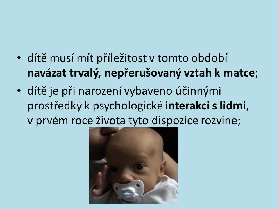 dítě musí mít příležitost v tomto období navázat trvalý, nepřerušovaný vztah k matce;