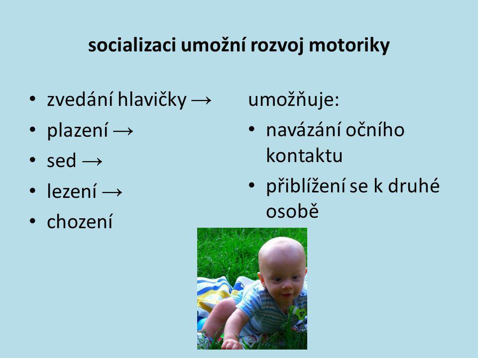 socializaci umožní rozvoj motoriky