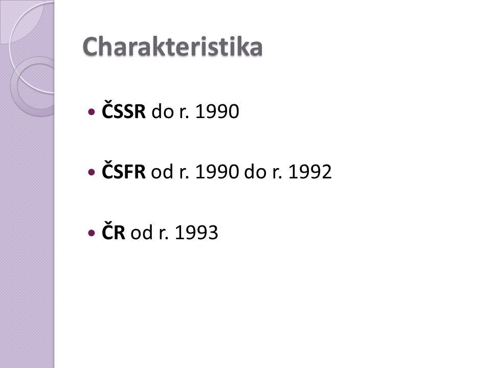 Charakteristika ČSSR do r. 1990 ČSFR od r. 1990 do r. 1992