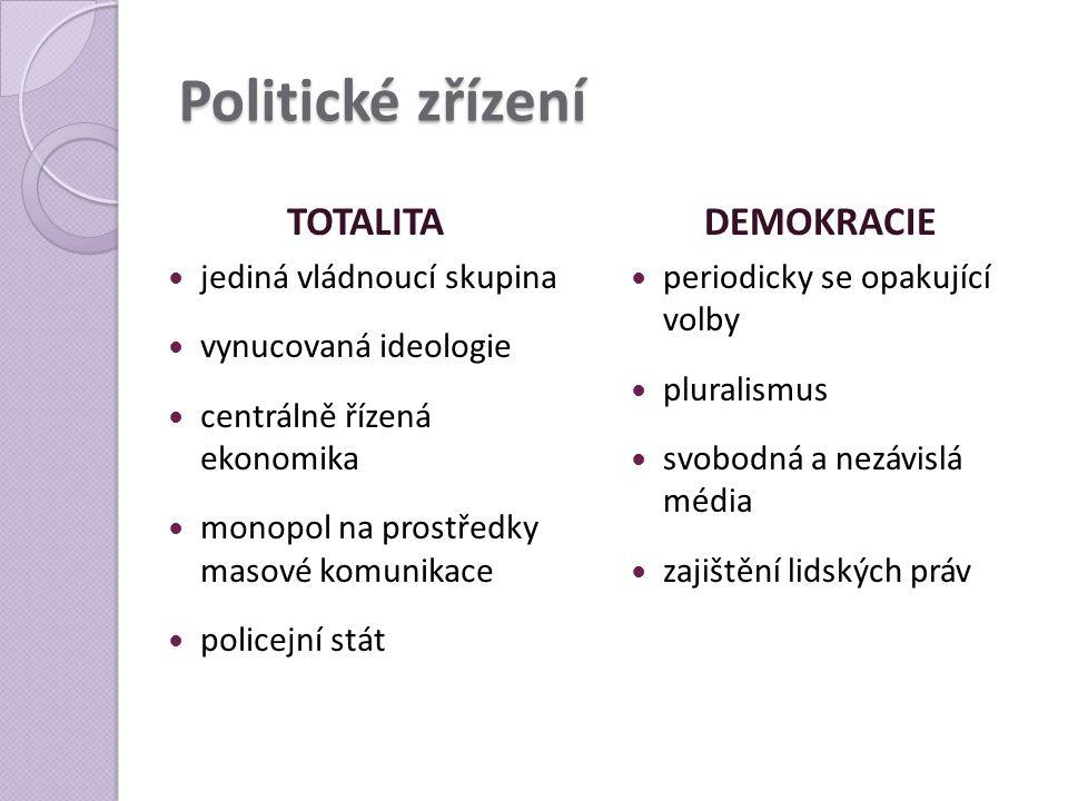 Politické zřízení TOTALITA DEMOKRACIE jediná vládnoucí skupina