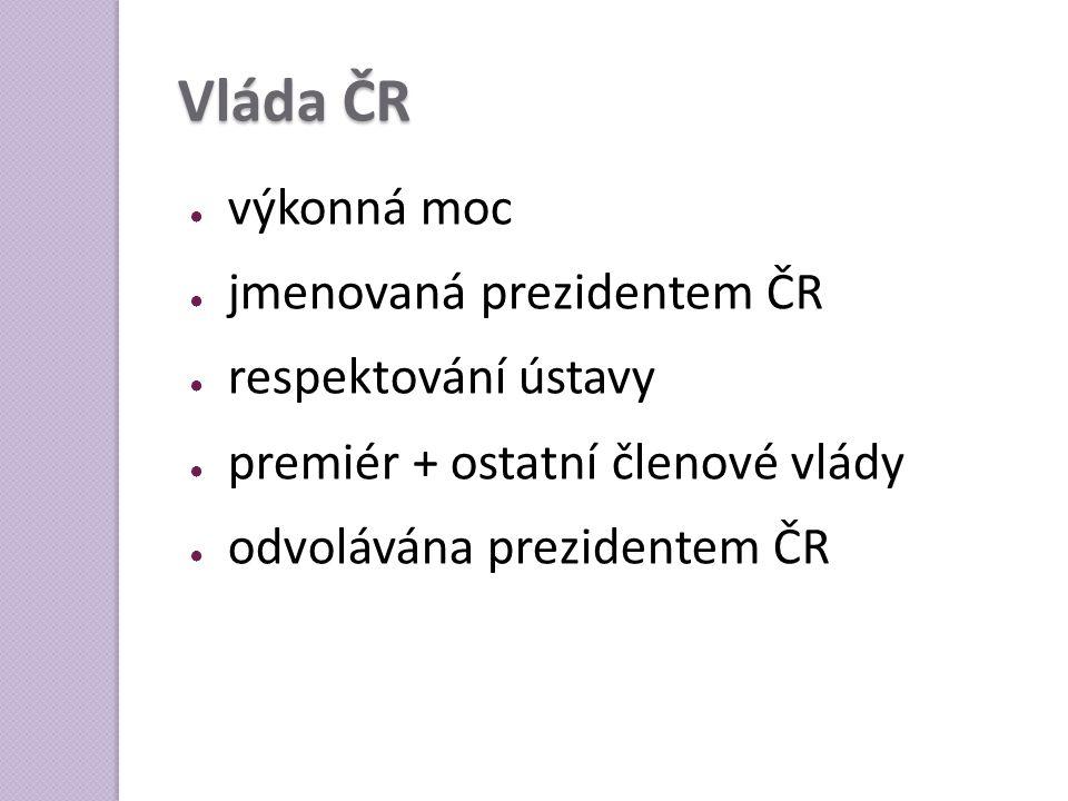 Vláda ČR výkonná moc jmenovaná prezidentem ČR respektování ústavy