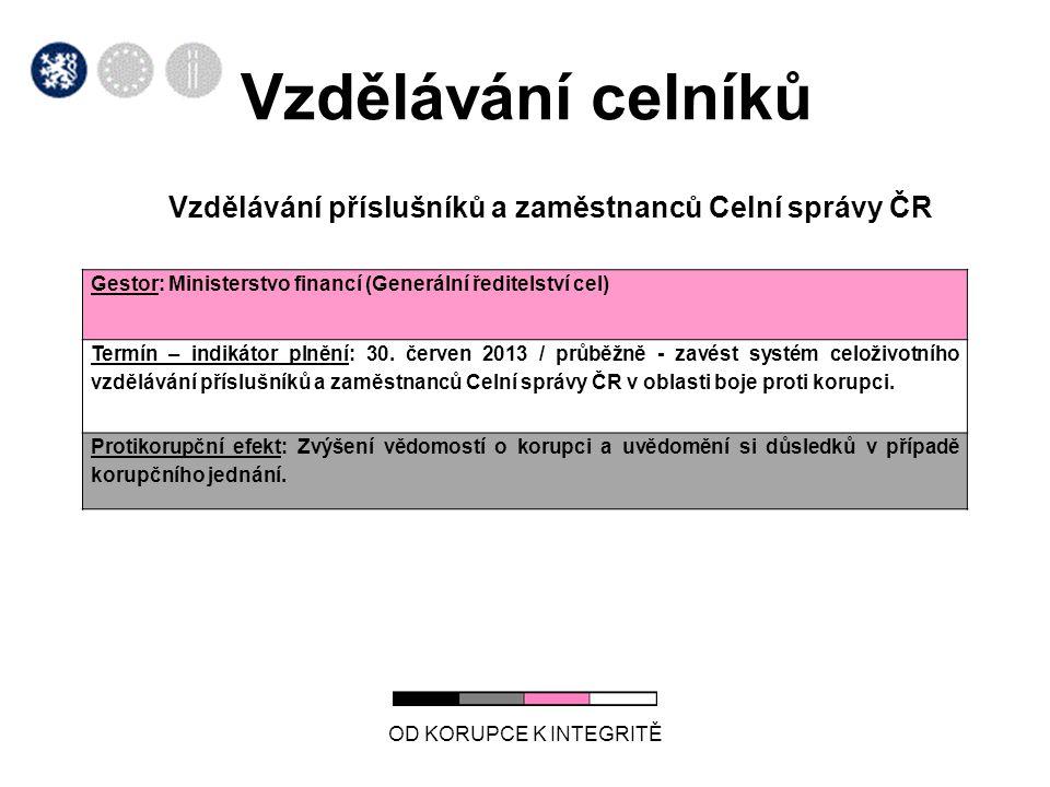 Vzdělávání celníků Vzdělávání příslušníků a zaměstnanců Celní správy ČR. Gestor: Ministerstvo financí (Generální ředitelství cel)