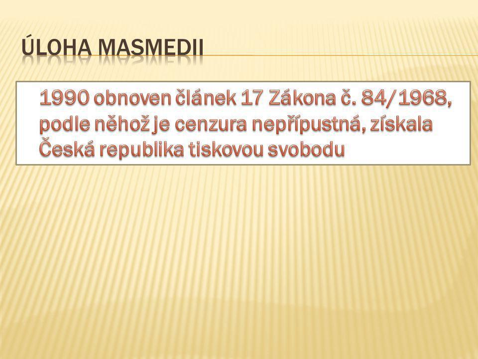 Úloha masmedii 1990 obnoven článek 17 Zákona č.