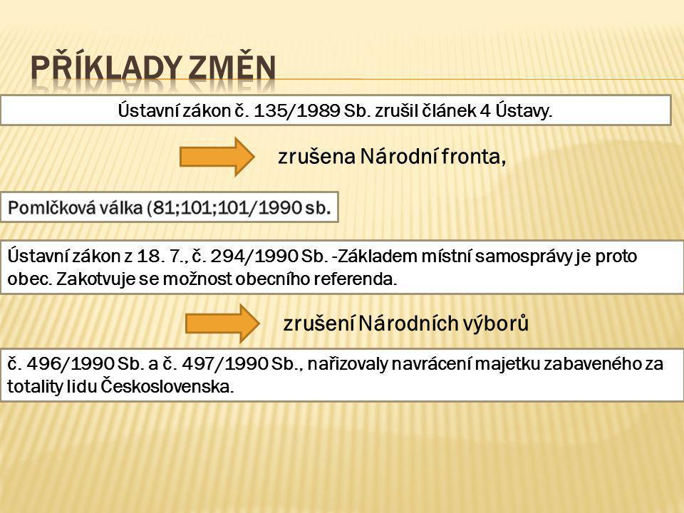 Příklady změn Ústavní zákon č. 135/1989 Sb. zrušil článek 4 Ústavy.