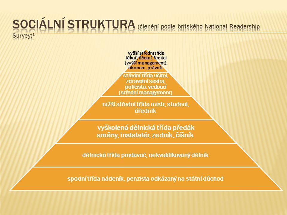 Sociální struktura (členění podle britského National Readership Survey)1