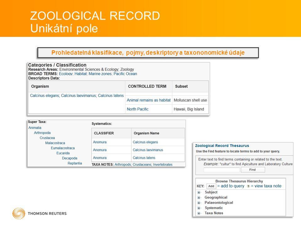 Prohledatelná klasifikace, pojmy, deskriptory a taxononomické údaje