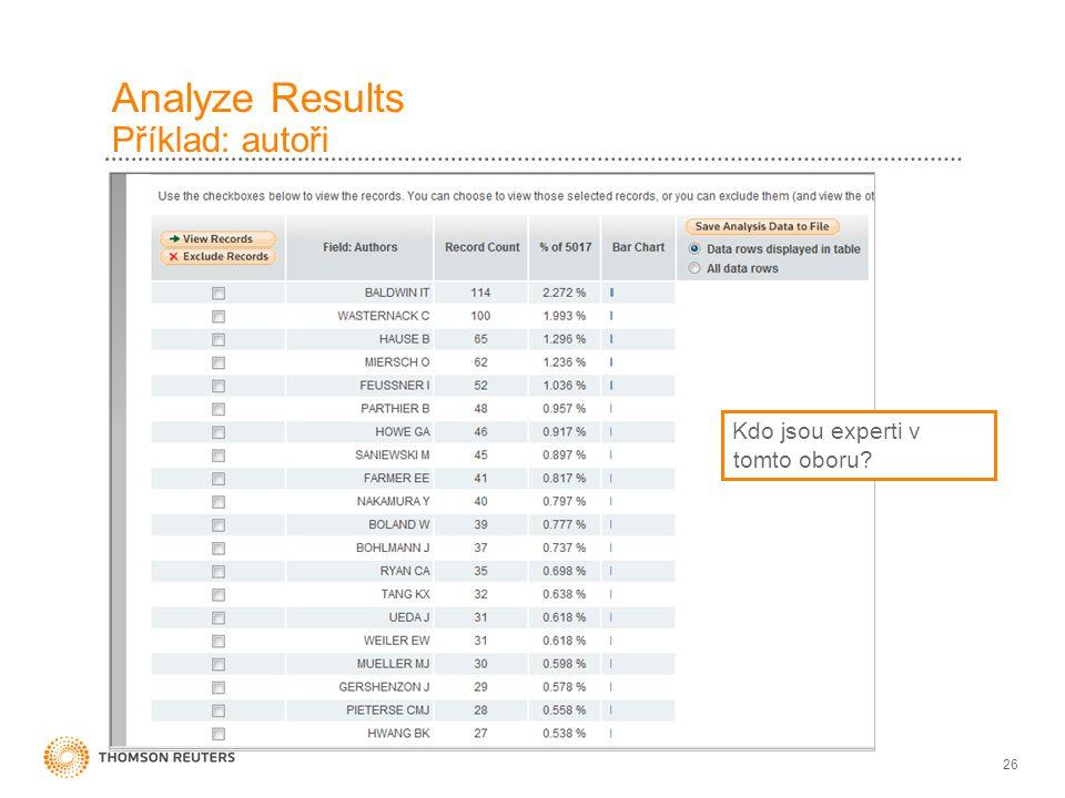 Analyze Results Příklad: autoři