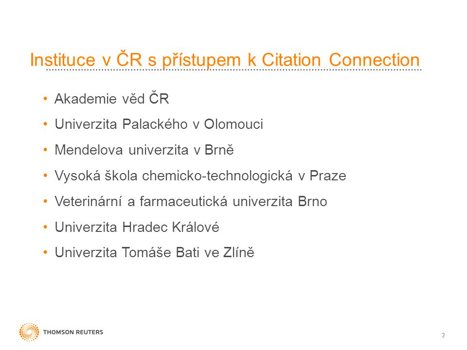 Instituce v ČR s přístupem k Citation Connection