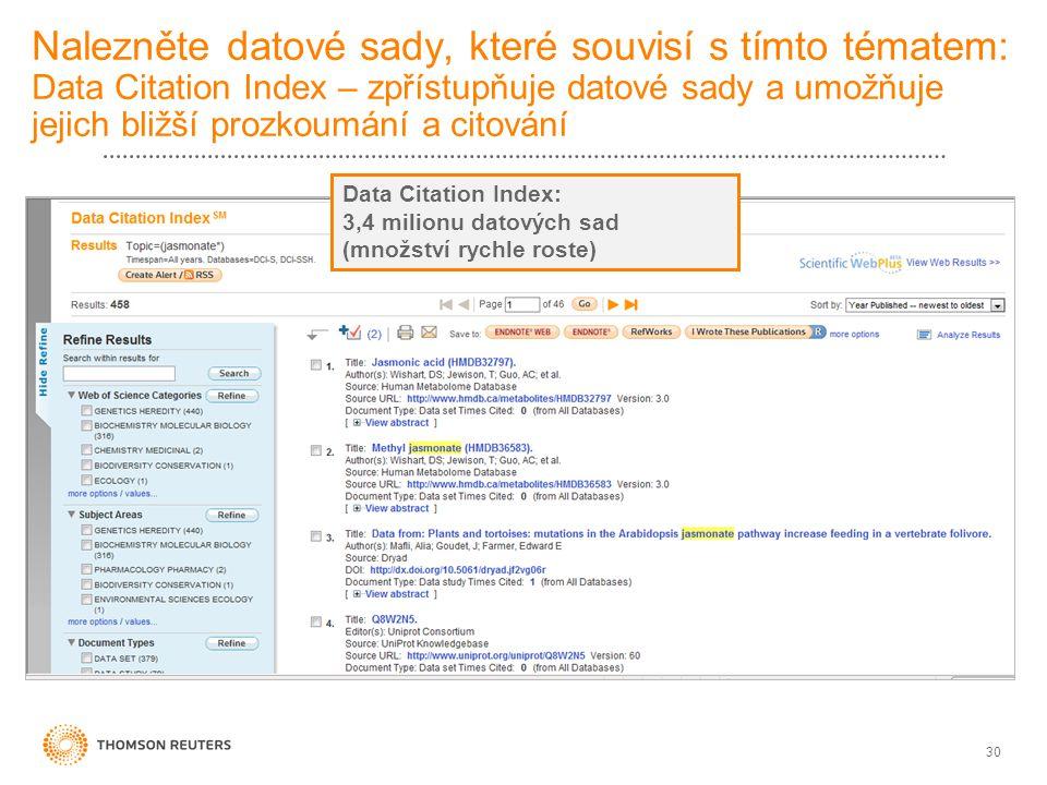 Nalezněte datové sady, které souvisí s tímto tématem: Data Citation Index – zpřístupňuje datové sady a umožňuje jejich bližší prozkoumání a citování