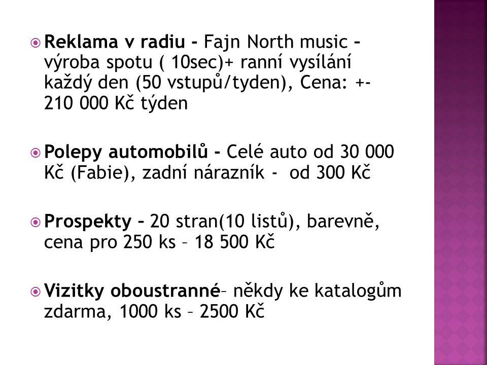 Reklama v radiu - Fajn North music – výroba spotu ( 10sec)+ ranní vysílání každý den (50 vstupů/tyden), Cena: +- 210 000 Kč týden