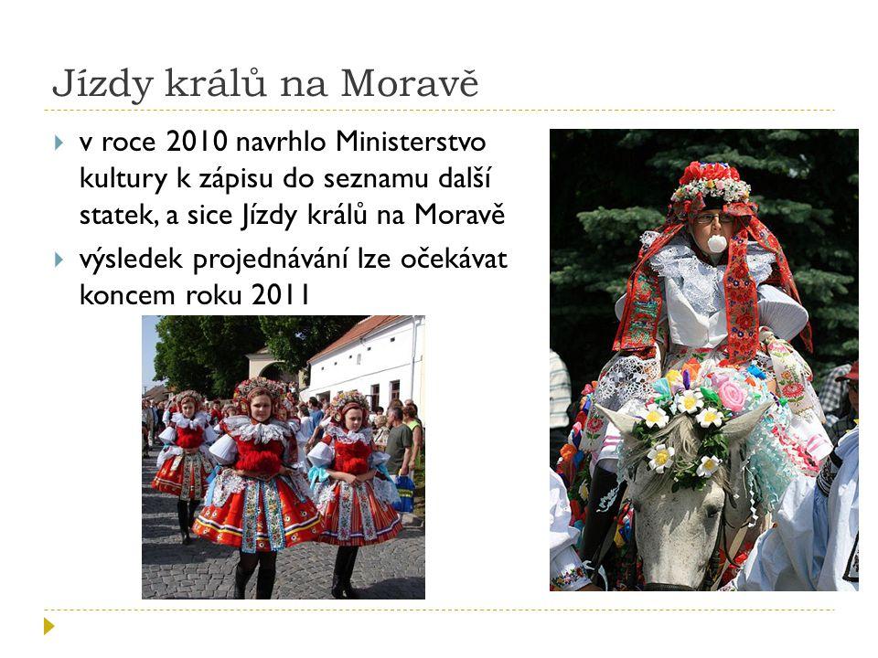 Jízdy králů na Moravě v roce 2010 navrhlo Ministerstvo kultury k zápisu do seznamu další statek, a sice Jízdy králů na Moravě.
