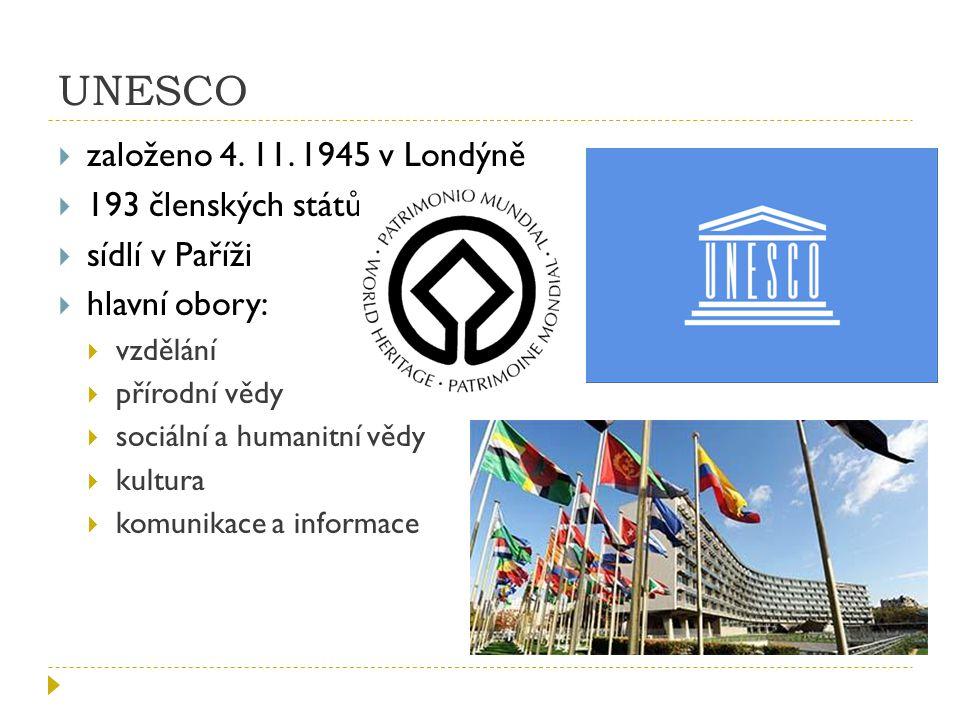 UNESCO založeno 4. 11. 1945 v Londýně 193 členských států