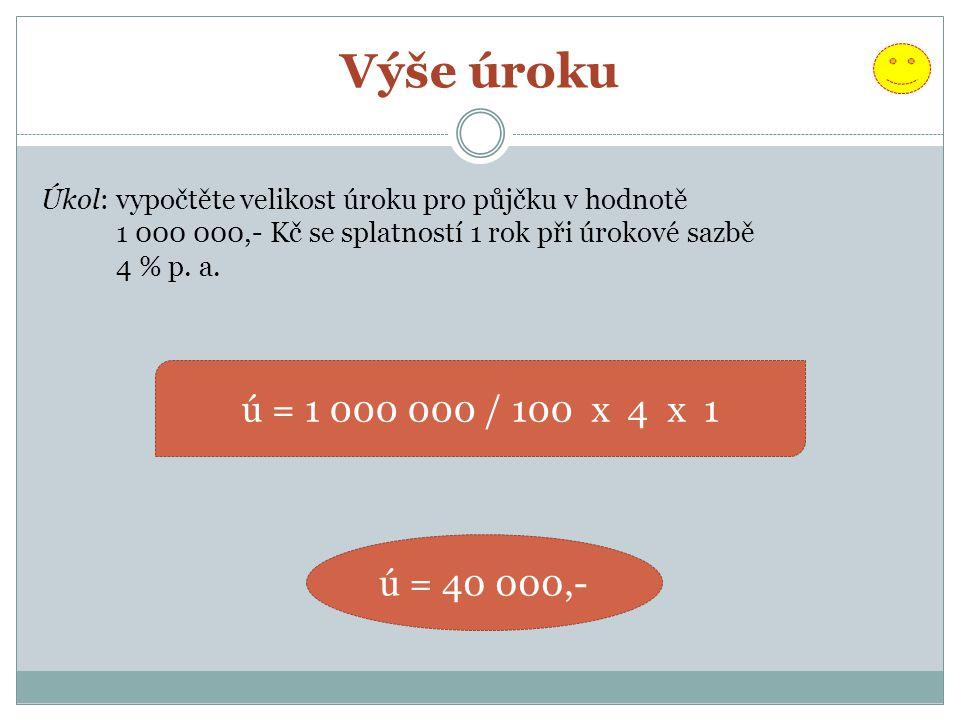 Výše úroku Úkol: vypočtěte velikost úroku pro půjčku v hodnotě. 1 000 000,- Kč se splatností 1 rok při úrokové sazbě.