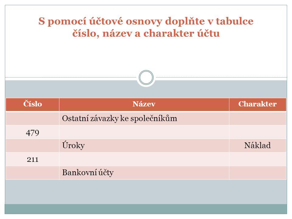 S pomocí účtové osnovy doplňte v tabulce číslo, název a charakter účtu