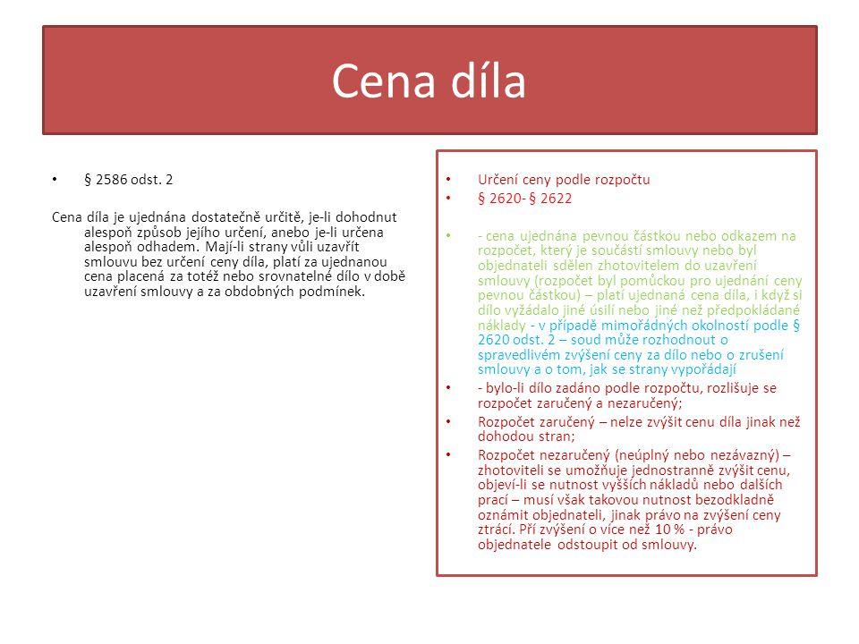 Cena díla § 2586 odst. 2.