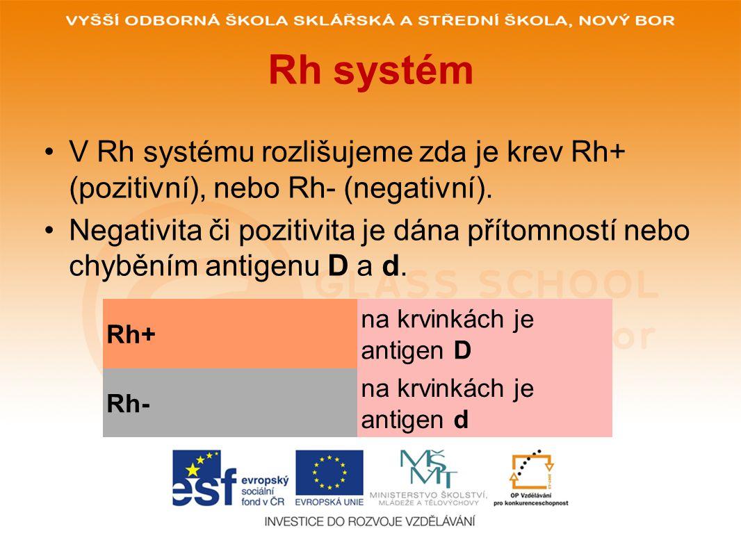Rh systém V Rh systému rozlišujeme zda je krev Rh+ (pozitivní), nebo Rh- (negativní).