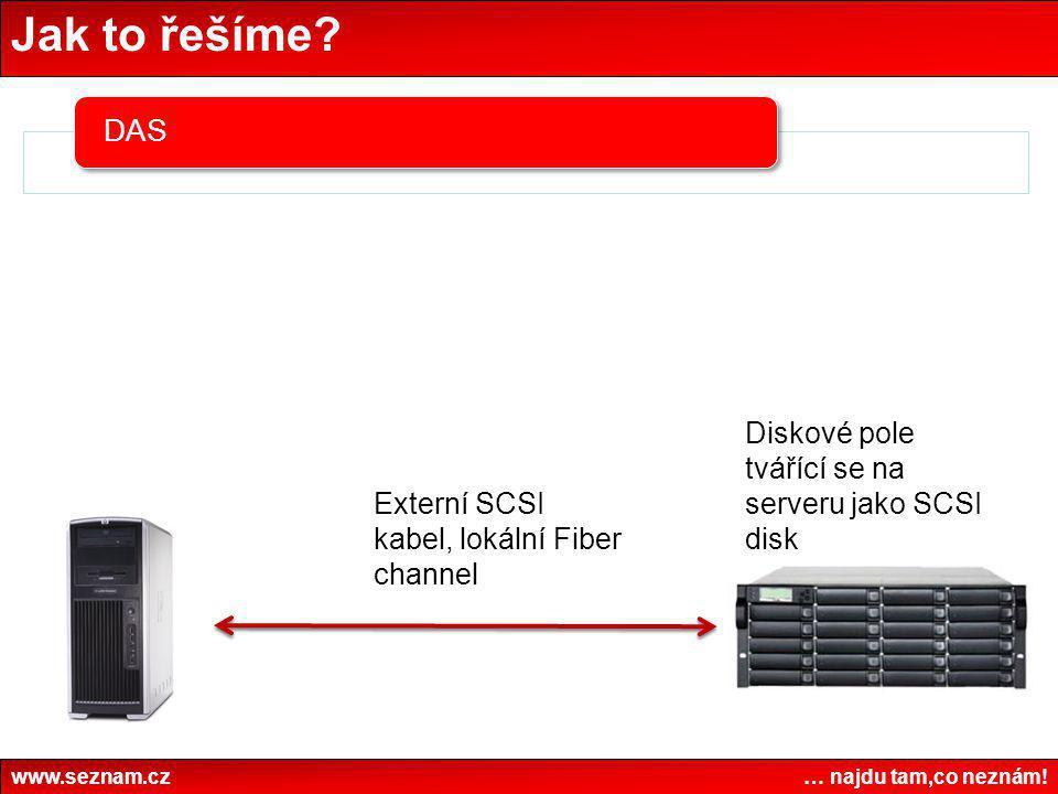 Jak to řešíme Diskové pole tvářící se na serveru jako SCSI disk