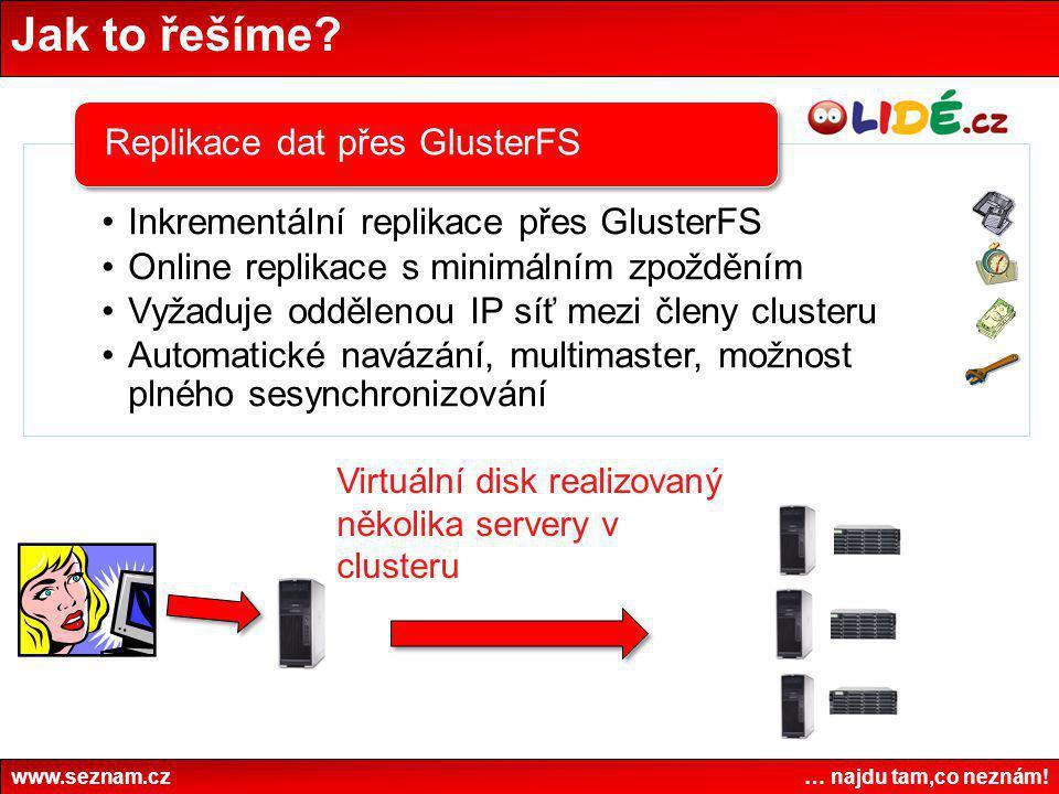 Jak to řešíme Virtuální disk realizovaný několika servery v clusteru