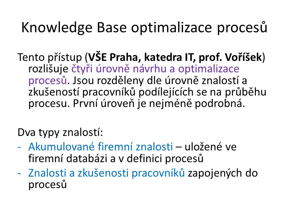 Knowledge Base optimalizace procesů