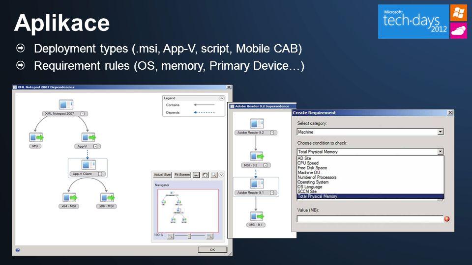 Aplikace Deployment types (.msi, App-V, script, Mobile CAB)
