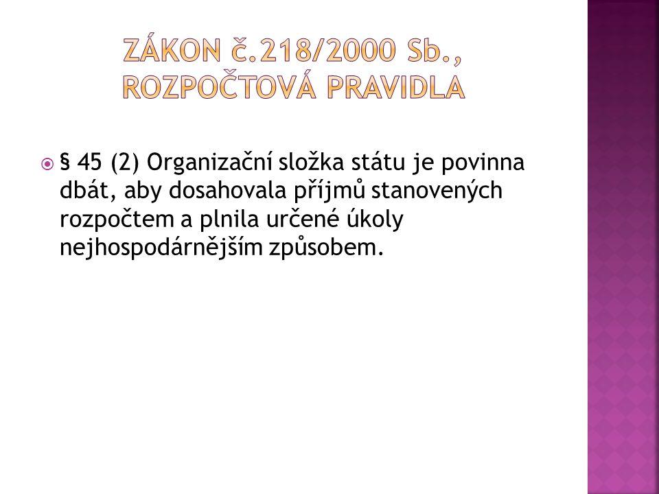 Zákon č.218/2000 Sb., rozpočtová pravidla