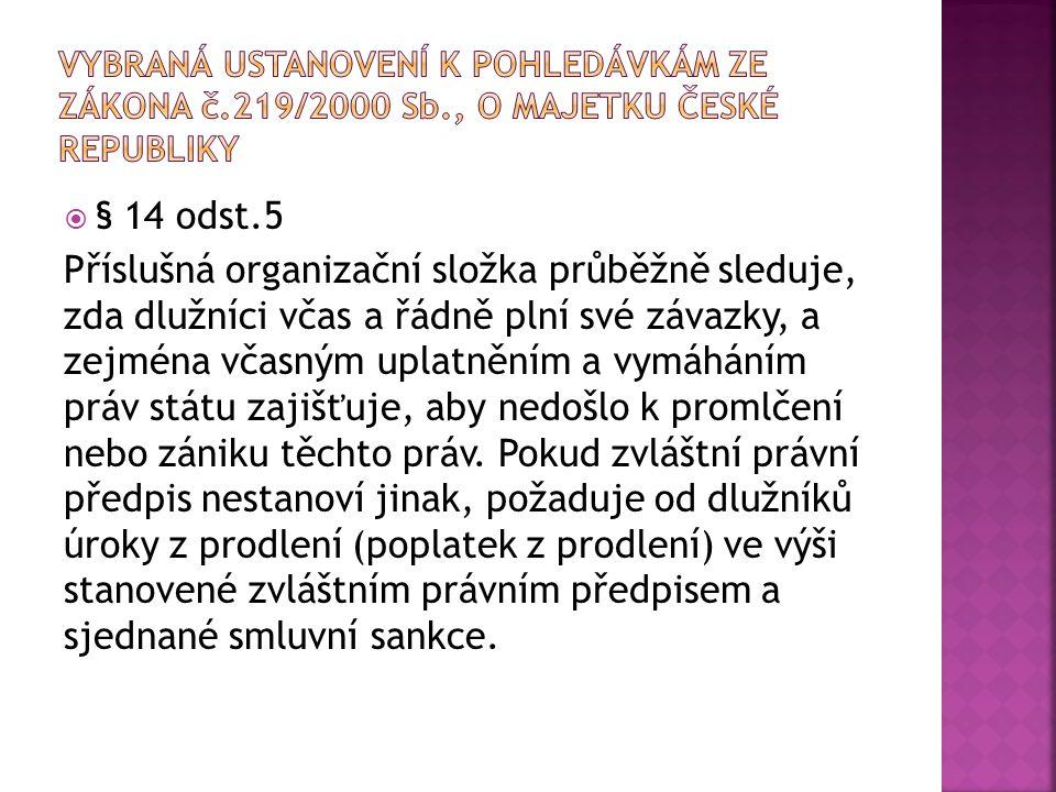 Vybraná ustanovení k pohledávkám ze zákona č. 219/2000 Sb