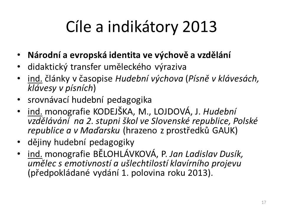 Cíle a indikátory 2013 Národní a evropská identita ve výchově a vzdělání. didaktický transfer uměleckého výraziva.