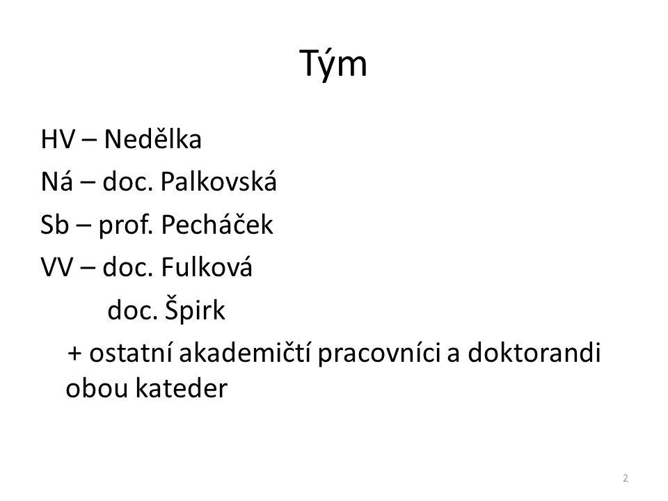 Tým HV – Nedělka Ná – doc. Palkovská Sb – prof. Pecháček VV – doc.