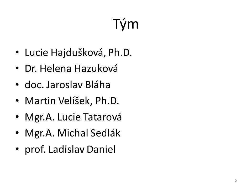Tým Lucie Hajdušková, Ph.D. Dr. Helena Hazuková doc. Jaroslav Bláha