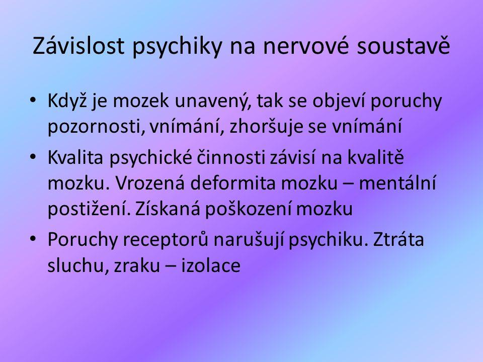 Závislost psychiky na nervové soustavě
