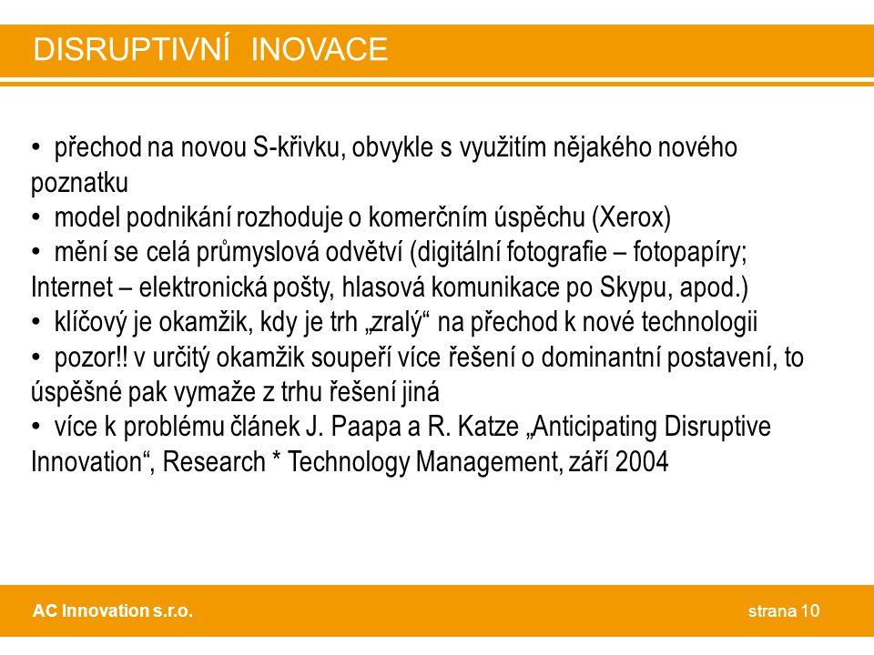 DISRUPTIVNÍ INOVACE přechod na novou S-křivku, obvykle s využitím nějakého nového poznatku. model podnikání rozhoduje o komerčním úspěchu (Xerox)